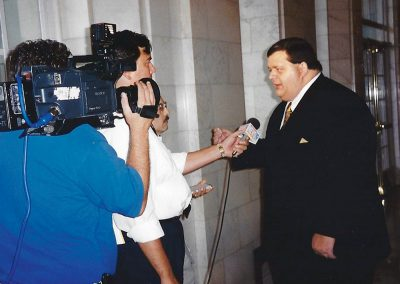 Josh Cutro speaking to Clif LeBlanc, a reporter for <cite>The State</cite> newspaper.